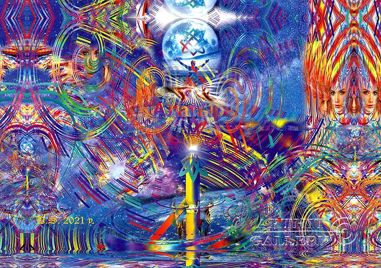 ''Stone in a circle. Start and end-7529 or Divine creation of life''.  Степанов Дмитрий. Продажа картин, предметов декоративно-прикладного искусства