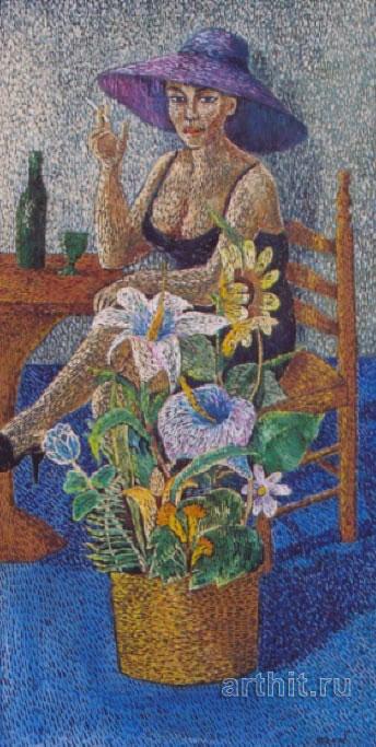 ''В кафе (В сиреневой шляпе)''.  Ходжакулова Тамара. Продажа картин, предметов декоративно-прикладного искусства