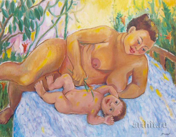 'Mother and the baby'  by Hodzhakulova Tamara