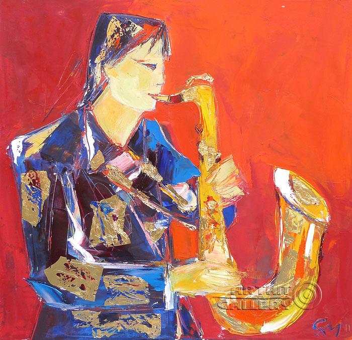 ''Золотой джазист''.  Манукян Гагик. Продажа картин, предметов декоративно-прикладного искусства