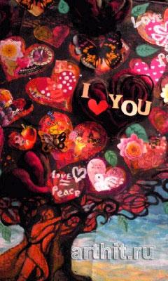 ''Любовь=Мир''.  Ямакава Юкико. Продажа картин, предметов декоративно-прикладного искусства