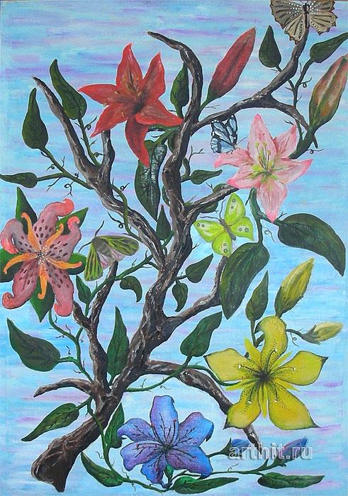 ''Цветы''.  Апрельская Диана. Продажа картин, предметов декоративно-прикладного искусства