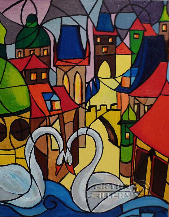 ''Пражские лебеди''.  Манукян Вероника. Продажа картин, предметов декоративно-прикладного искусства