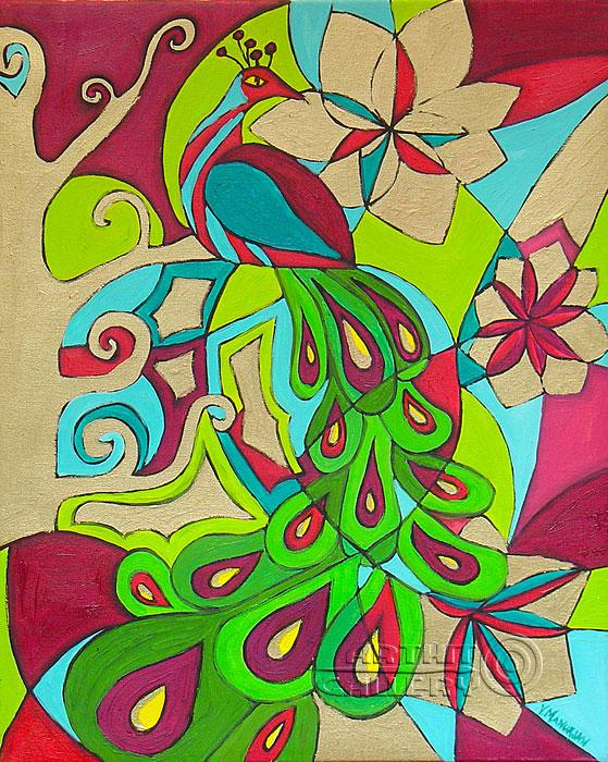 ''Золотой павлин''.  Манукян Вероника. Продажа картин, предметов декоративно-прикладного искусства