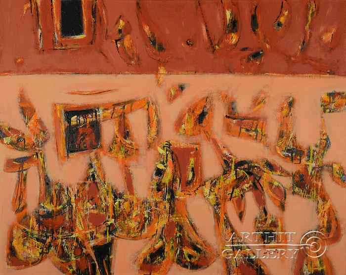 ''Красный горизонт''.  Лео Лео. Продажа картин, предметов декоративно-прикладного искусства