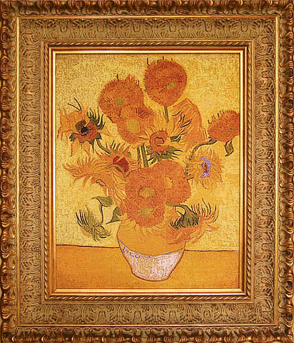Vase With Fifteen Sunflowers Maria Akinshina Embroidery Paintings Hand