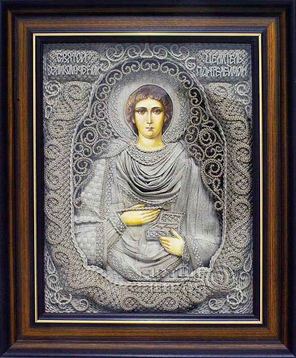 "Saint Panteleimon the Healer.  Next.  Applied art macrame, oil, canvas, linen thread 19.7 "" x 15.7 "" ( 50.0 x 40.0 cm..."