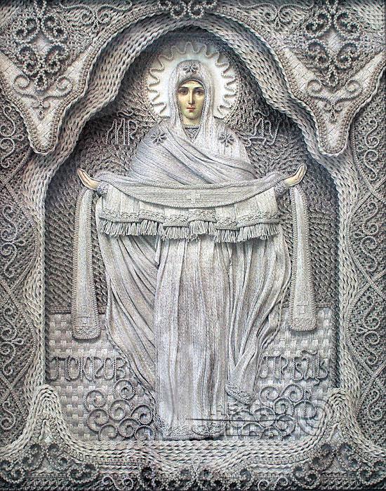 Войдите, для того, чтобы комментировать Пин.  Покрова Пресвятой Богородицы Льняные иконы в технике макраме...