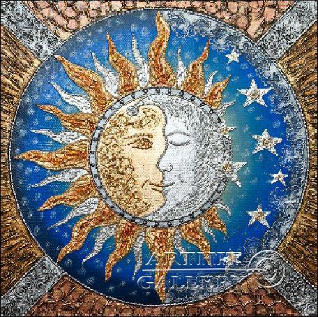 ''Картина-амулет `Солнце и Луна`''.  Карлова Елена. Продажа картин, предметов декоративно-прикладного искусства