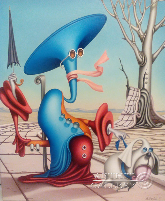 ''Дама с собачкой''.  Лямкин Александр. Продажа картин, предметов декоративно-прикладного искусства