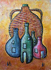 ''A jug and four bottles''.