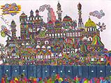 ''Волшебный город''. Фаттал Адиб. Наивное искусство