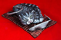 ''A cat with a mouse''.