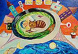 ''Man and cat''. Kursakova Larisa. Naive art