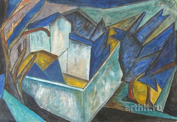 ''Кубизм. Синий пейзаж''.  Бенчини Джанфранко. Продажа картин, предметов декоративно-прикладного искусства