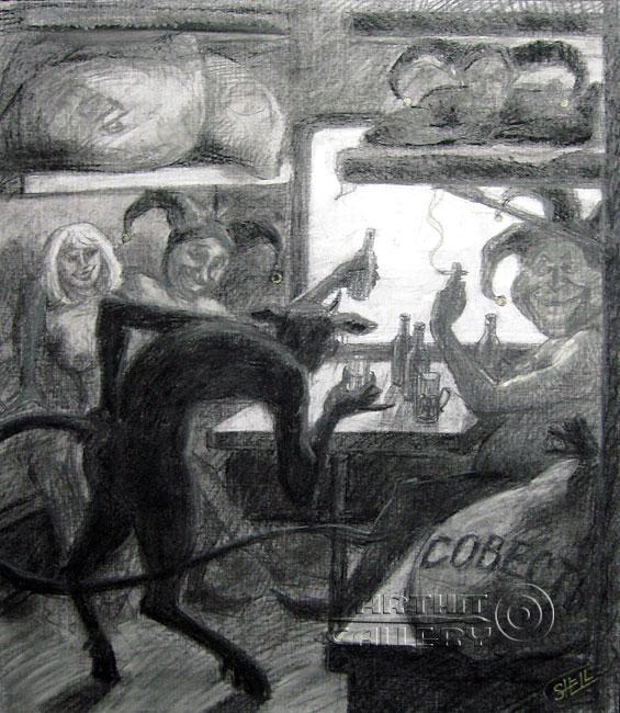 ''Злоба, лицемерие, корысть и зависть едут в отпуск''.  Шелбаев Зураб `Шел`. Продажа картин, предметов декоративно-прикладного искусства