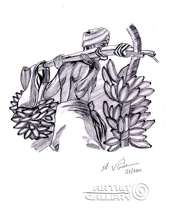 ''Тяжелый труд фермера''.  Анандхан Вигнеш. Продажа картин, предметов декоративно-прикладного искусства