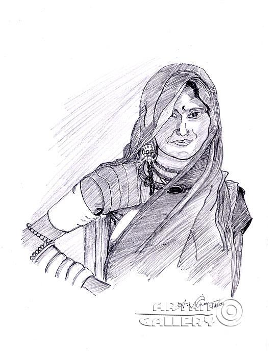 ''Девушка гуджарати''.  Анандхан Вигнеш. Продажа картин, предметов декоративно-прикладного искусства