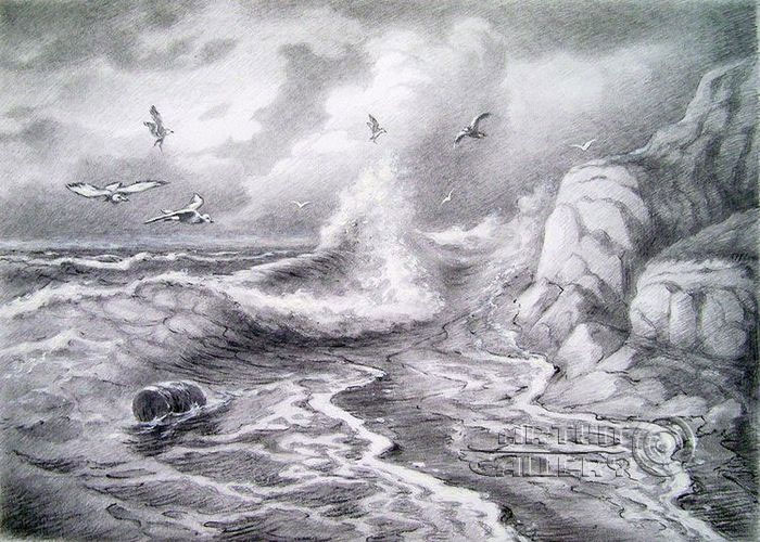 Pencil drawings. Drawing. Sea wanderers. Kulagin Oleg