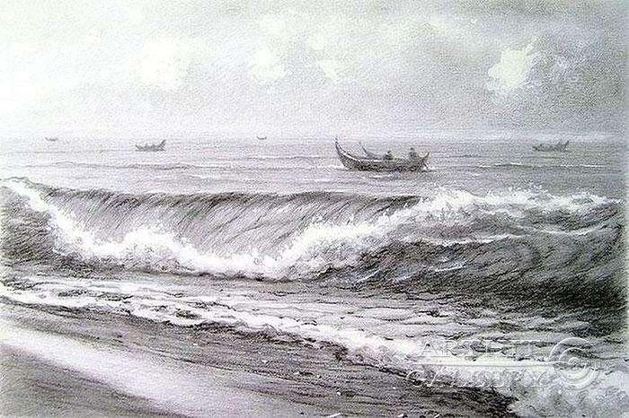 ''Рыбацкие лодки в Тихом океане''.  Кулагин Олег. Продажа картин, предметов декоративно-прикладного искусства