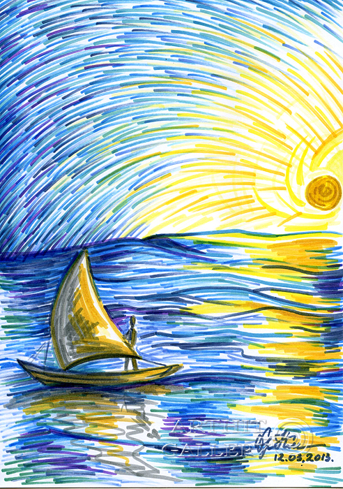 рисунок карандашом детский море