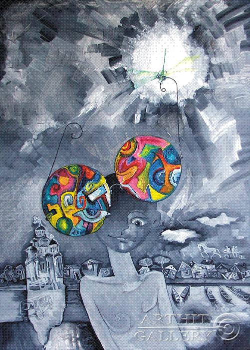 ''Очкарик''.  Жамалов Ринат. Продажа картин, предметов декоративно-прикладного искусства
