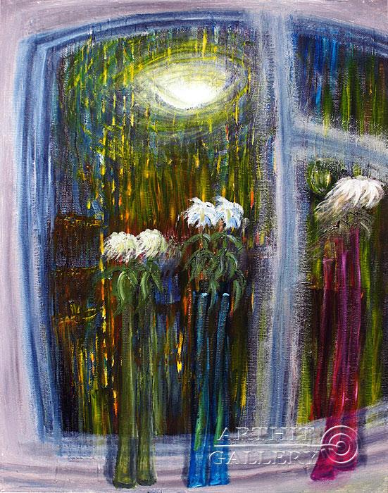 ''Ночное Окно''.  Левашенко Давид. Продажа картин, предметов декоративно-прикладного искусства