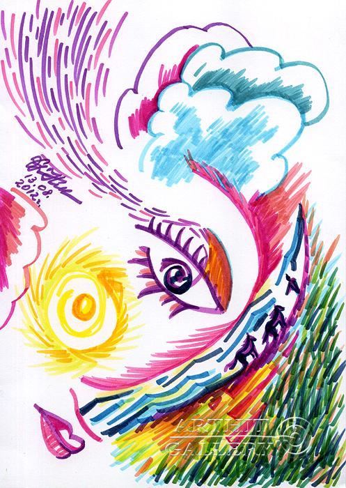 ''На закате дня... кони у реки...''.  Сыроватская Наталья. Продажа картин, предметов декоративно-прикладного искусства