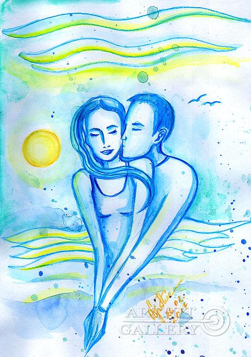 ''Поцелуй океана...''.  Сыроватская Наталья. Продажа картин, предметов декоративно-прикладного искусства