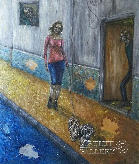 ''Современная дама с собачкой''.  Петрова Ирина. Продажа картин, предметов декоративно-прикладного искусства