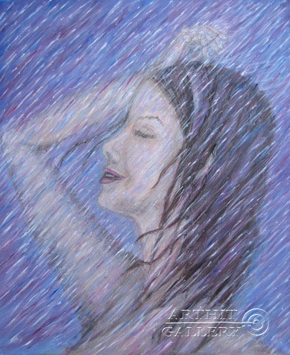 ''Под дождем''.  Петрова Ирина. Продажа картин, предметов декоративно-прикладного искусства