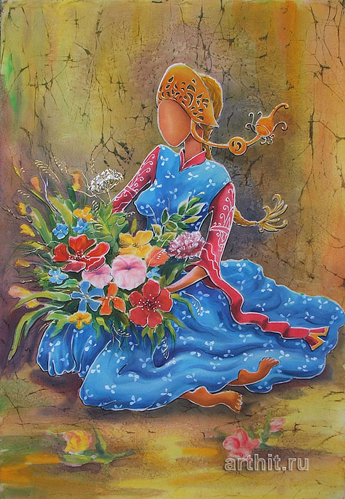 ''Девушка с цветами''.  Виницкая Лариса. Продажа картин, предметов декоративно-прикладного искусства