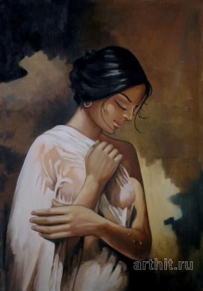 ''После купания''.  Шетти Сандхья. Продажа картин, предметов декоративно-прикладного искусства
