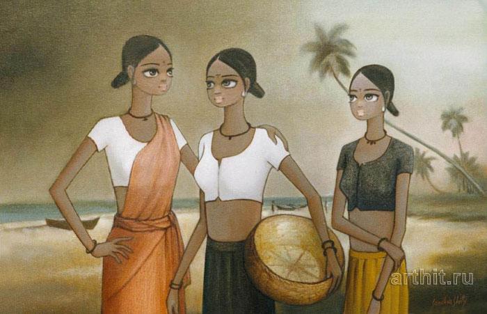 ''Отдых рыбачек''.  Шетти Сандхья. Продажа картин, предметов декоративно-прикладного искусства