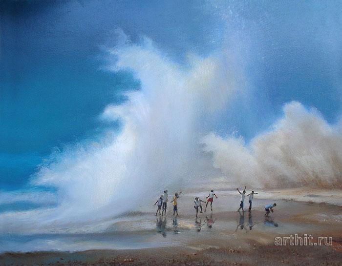''Гигантские волны''.  Шетти Сандхья. Продажа картин, предметов декоративно-прикладного искусства