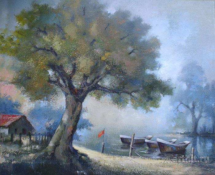 ''Мистический пейзаж''.  Шетти Сандхья. Продажа картин, предметов декоративно-прикладного искусства