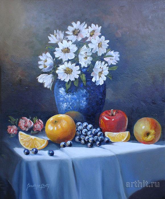''Натюрморт с голубой вазой''.  Шетти Сандхья. Продажа картин, предметов декоративно-прикладного искусства