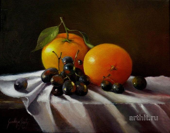 ''Натюрморт с апельсинами''.  Шетти Сандхья. Продажа картин, предметов декоративно-прикладного искусства
