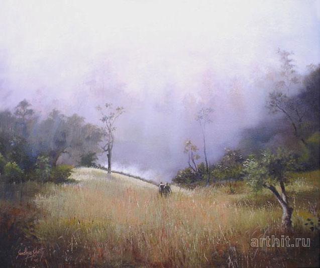 ''Туманное утро''.  Шетти Сандхья. Продажа картин, предметов декоративно-прикладного искусства