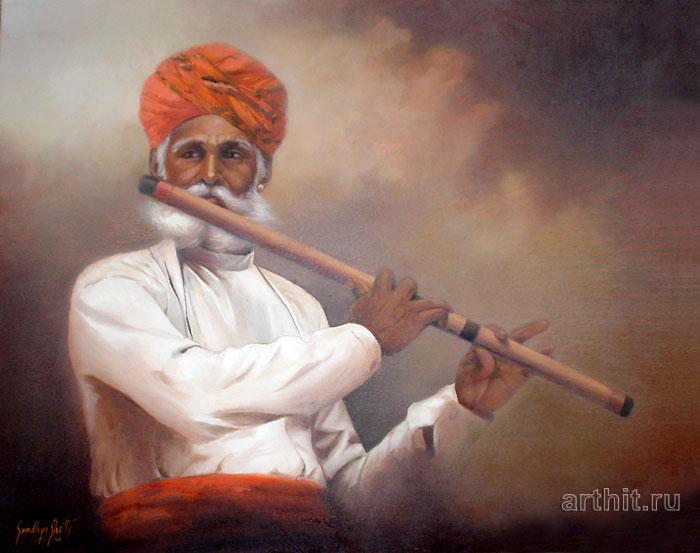 ''Флейтист''.  Шетти Сандхья. Продажа картин, предметов декоративно-прикладного искусства