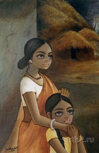 ''Мать и дочь''.  Шетти Сандхья. Продажа картин, предметов декоративно-прикладного искусства