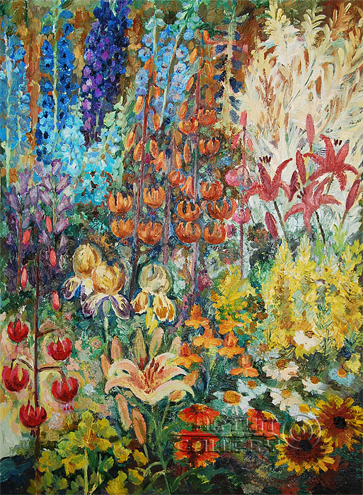 July Flower Garden Elena Korshunova Impressionism Oil Paintings