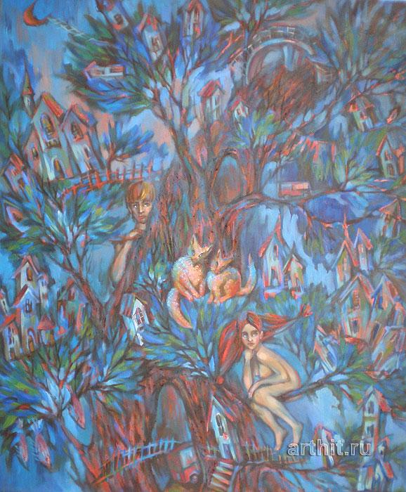 ''Обитаемое дерево''.  Приведенцева Злата. Продажа картин, предметов декоративно-прикладного искусства