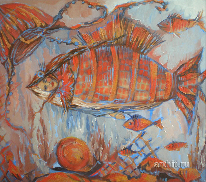 ''Женщина-рыба''.  Приведенцева Злата. Продажа картин, предметов декоративно-прикладного искусства