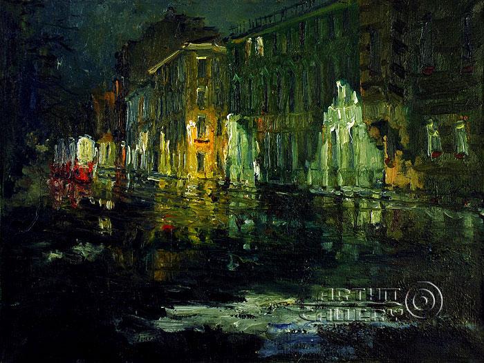 ''Последний трамвай''.  Басиладзе Ростом. Продажа картин, предметов декоративно-прикладного искусства