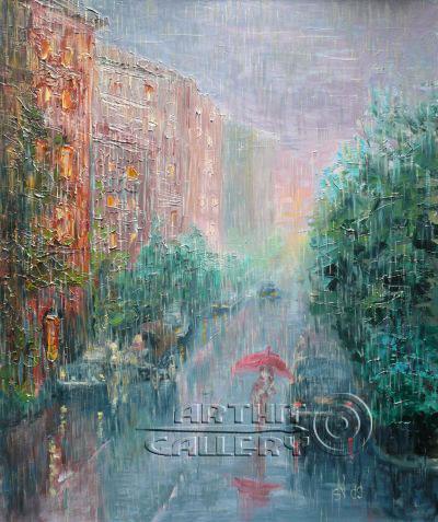 ''Городской дождь''.  Сапожникова Светлана. Продажа картин, предметов декоративно-прикладного искусства
