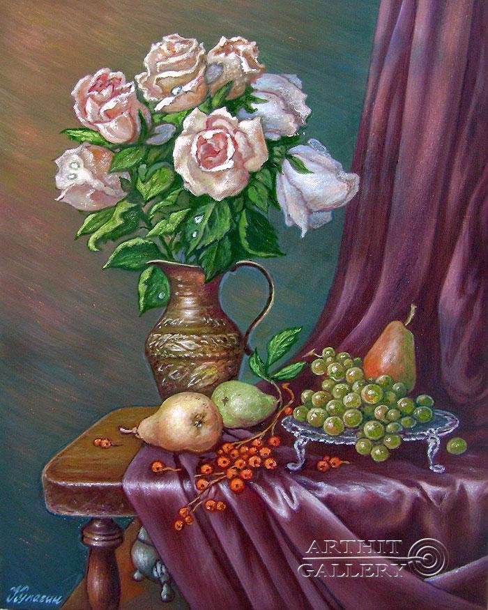 ''Розы и фрукты''.  Кулагин Олег. Продажа картин, предметов декоративно-прикладного искусства