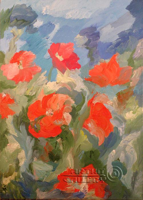 ''Маки на ветру''.  Штыкова Ирина. Продажа картин, предметов декоративно-прикладного искусства