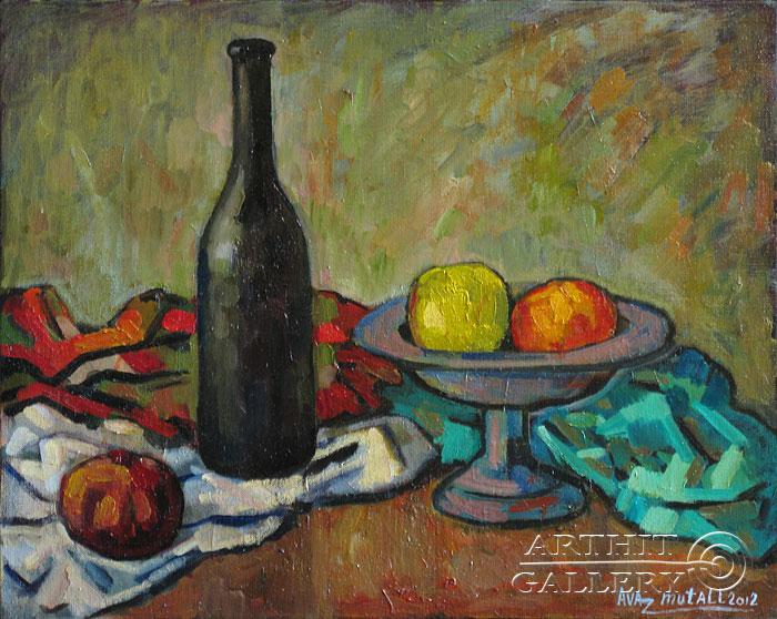 ''Натюрморт с бутылкой''.  Усманов Аваз. Продажа картин, предметов декоративно-прикладного искусства