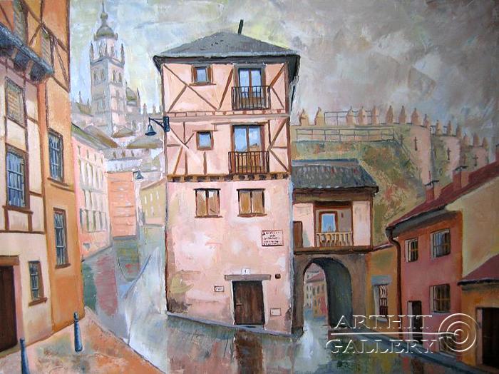''Сеговия, испанский средневековый город''.  Силаева Нина. Продажа картин, предметов декоративно-прикладного искусства